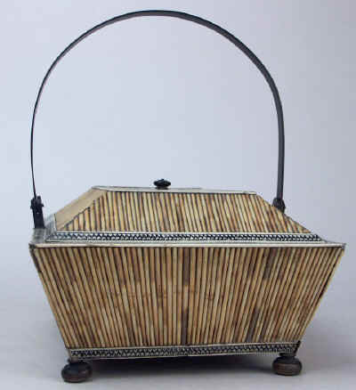 Anglo Indian, Vizagapatam Porcupine Quill Horn and Ivory Basket-form box Circa 1850. quillbasket3.jpg (104391 bytes)