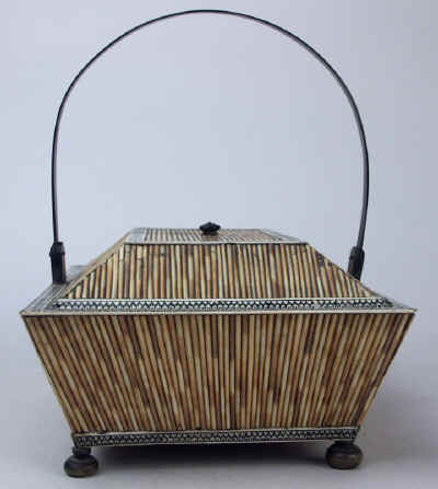 Anglo Indian, Vizagapatam Porcupine Quill Horn and Ivory Basket-form box Circa 1850. quillbasket5.jpg (99416 bytes)