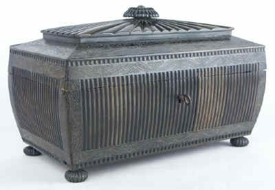 An important and monumental Anglo Indian Vizagapatam black buffalo horn tea chest Circa 1835.