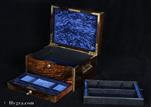 808JB: Antique Coromandel Brass edged box with lift out tray and drawer fitted for Jewelry Circa 1875