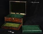 Antique brass edged figured coromandel box with working Bramah type  lock with key.