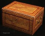663TC: Important high quality Chinese Export Lacquer Tea Chest of  decorated with scenes which are significant both in trading terms and in Sino-European relations and art. Circa 1900.