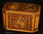 748TC: Octagonal Tea Caddy inlaid in wood and decorated with hand coloured prints circa 1790