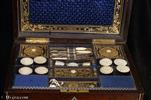 Antique Fully Fitted Rosewood Sewing Box by R. Dalton with Mother of Pearl Inlay Circa 1830
