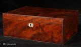 855SB: Antique Flame Mahogany Sewing Box With Lift-out Tray Circa 1800