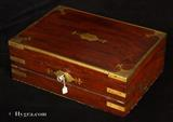 Brass bound Georgian  Solid Mahogany Triple Opening Writing Box circa 1810.