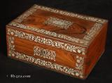 862JB: Antique Rosewood box with pewter inlay circa 1820
