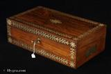 Antique Rosewood writing Box with pewter inlay circa 1825 by Turnbull's of Cheltenham