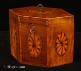 877TC: Antique Satinwood Hexagonal Tea Caddy Inlaid with Ovals depicting stylized Paterae circa 1790
