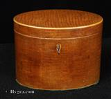 879TC: Antique George III oval lacewood tea caddy circa 1790