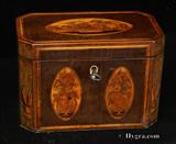 880TC: Antique inlaid octagonal hairwood tea caddy Circa 1800