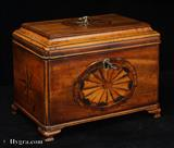 883TC: Antique inlaid Chippendale style two compartment tea caddy circa 1770