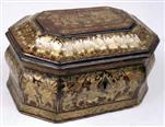 TC144: Chinese Export Lacquer Tea Caddy with Gold Decoration depicting