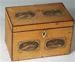 TC149: Maple Two Compartment Tea Caddy with Original Prints Circa 1795: A two compartment maple caddy decorated with prints of birds on the top and front. Such decoration only survives rarely when the original varnish remains undisturbed.