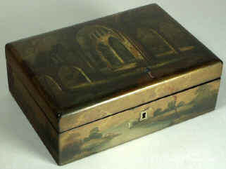 A painted Fully fitted Papier mâchè Sewing box Circa 1835. Enlarge Picture