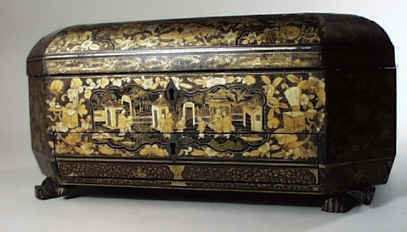 Chinese Export Lacquer Sewing  Box decorated with scenes of oriental life  circa 1850.