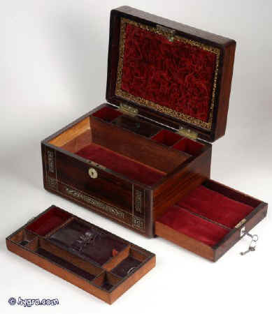 Hygra Antique Figured Rosewood Box Inlaid With Mother Of