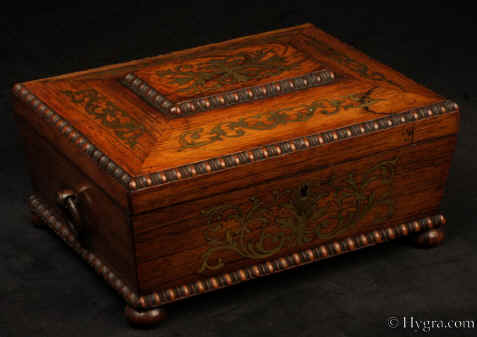 Hygra Antique Regency Gadrooned And Brass Inlaid Rosewood