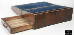 A brass bound solid rosewood  writing box with side drawer, secret drawers, countersunk carrying handles a pair of inkwells.  The use of solid wood in a box of English form points to a Chinese piece made for an English client.