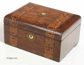 Victorian walnut veneered box inlaid in strips of geometric marquetry circa 1880 Enlarge Picture